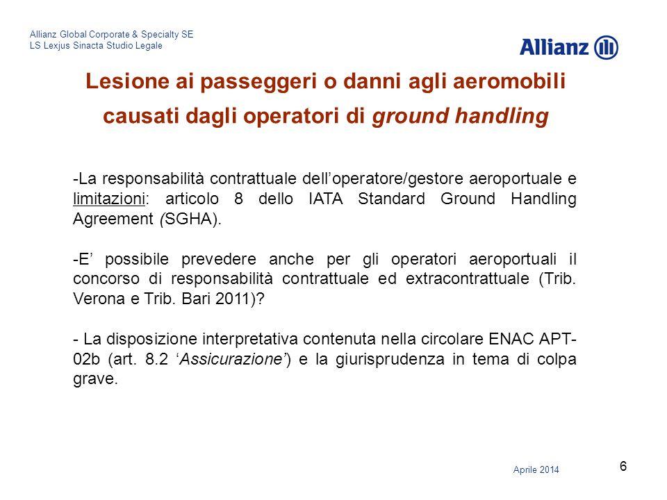 Lesione ai passeggeri o danni agli aeromobili