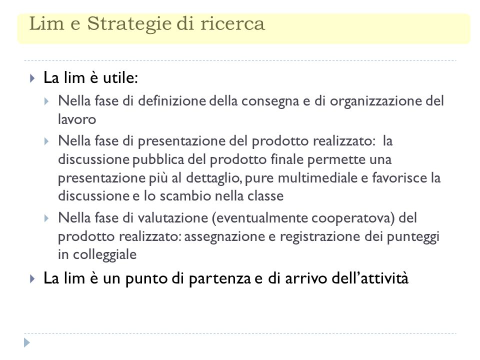 Lim e Strategie di ricerca