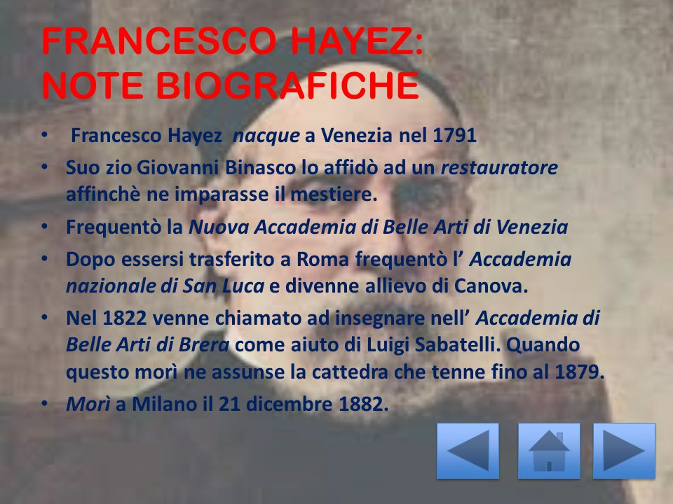 FRANCESCO HAYEZ: NOTE BIOGRAFICHE
