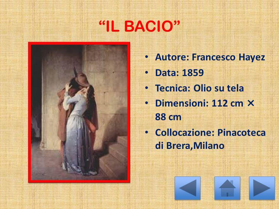IL BACIO Autore: Francesco Hayez Data: 1859 Tecnica: Olio su tela