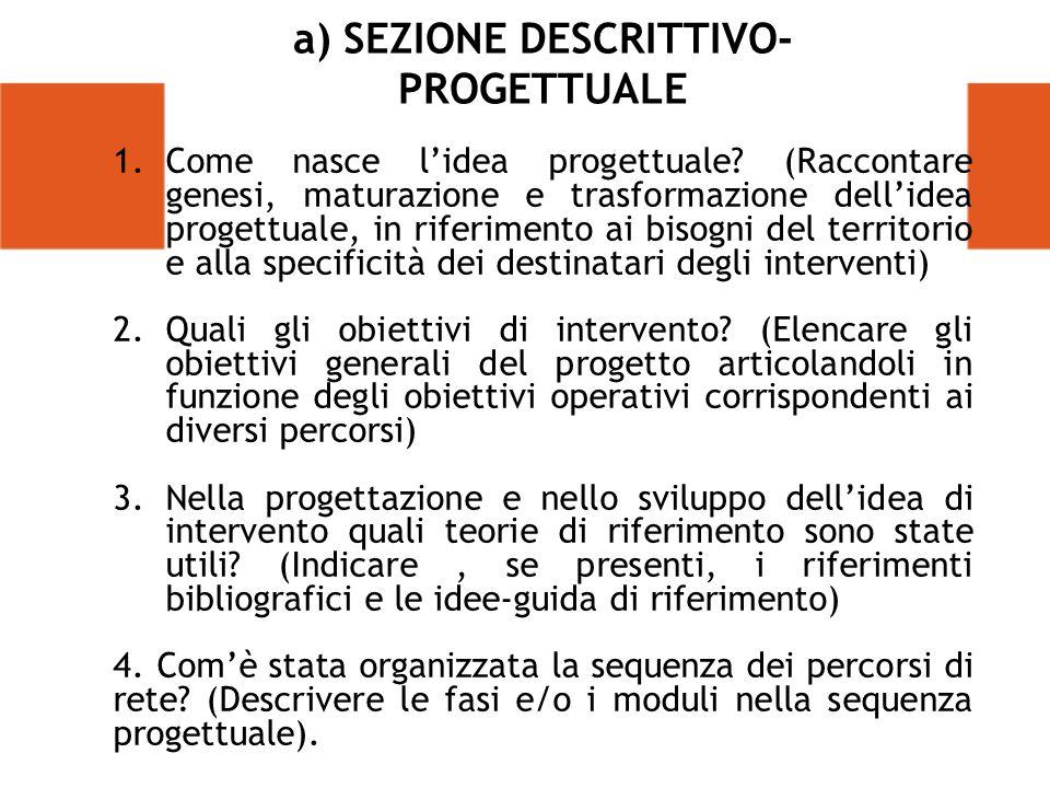 a) SEZIONE DESCRITTIVO- PROGETTUALE