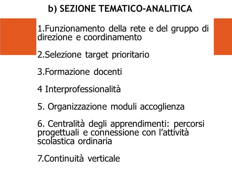 b) SEZIONE TEMATICO-ANALITICA