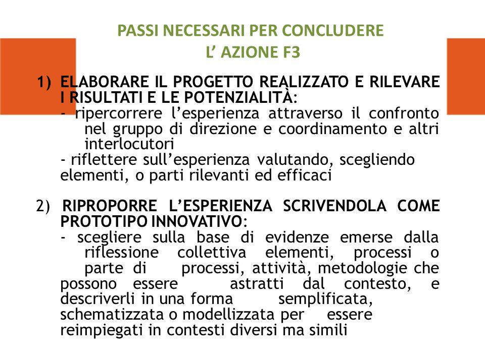 PASSI NECESSARI PER CONCLUDERE L' AZIONE F3
