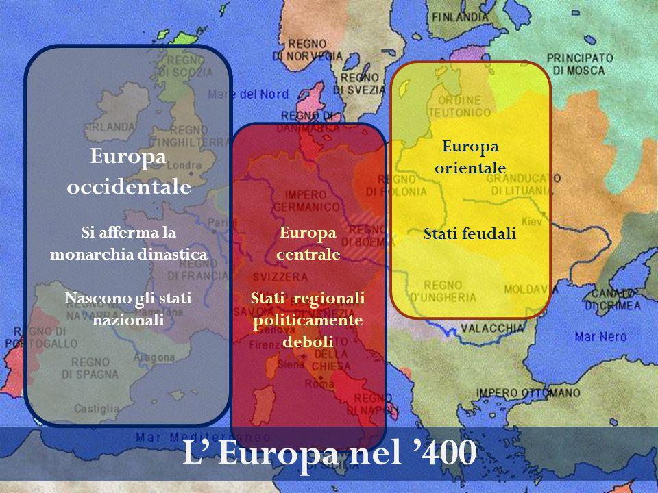 L' Europa nel '400 Europa occidentale Europa orientale
