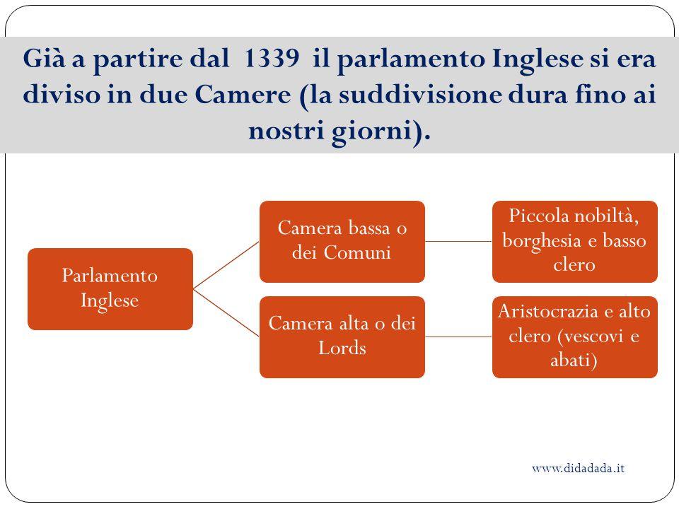 Già a partire dal 1339 il parlamento Inglese si era diviso in due Camere (la suddivisione dura fino ai nostri giorni).