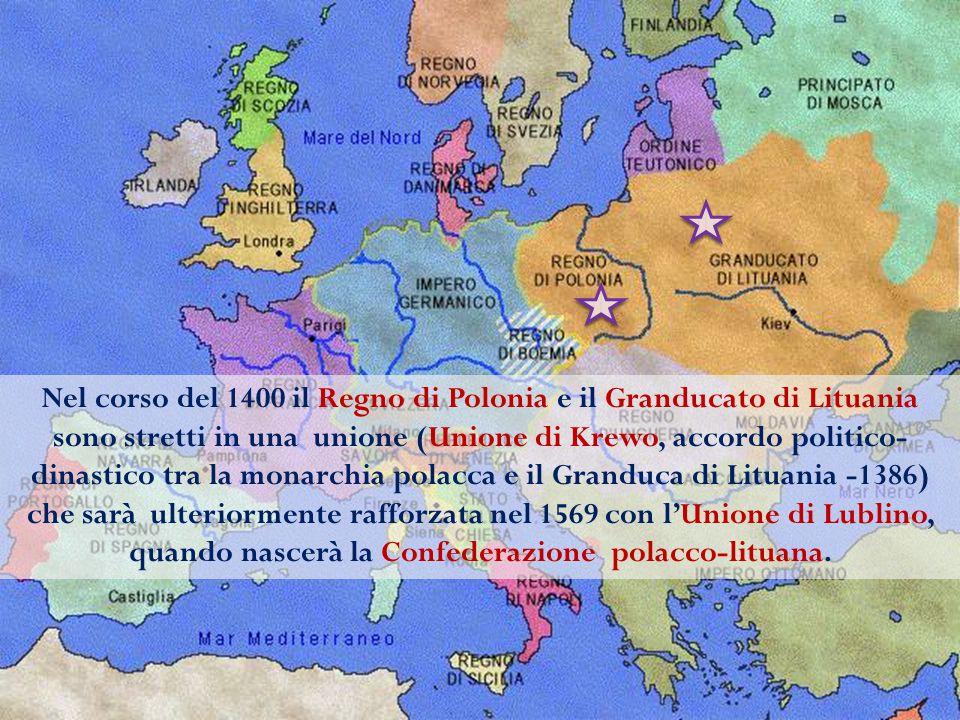 Nel corso del 1400 il Regno di Polonia e il Granducato di Lituania sono stretti in una unione (Unione di Krewo, accordo politico-dinastico tra la monarchia polacca e il Granduca di Lituania -1386) che sarà ulteriormente rafforzata nel 1569 con l'Unione di Lublino, quando nascerà la Confederazione polacco-lituana.