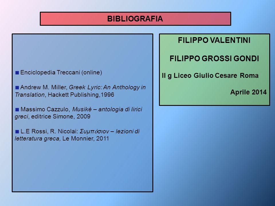 BIBLIOGRAFIA FILIPPO VALENTINI FILIPPO GROSSI GONDI