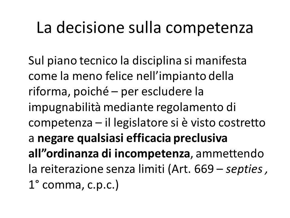 La decisione sulla competenza
