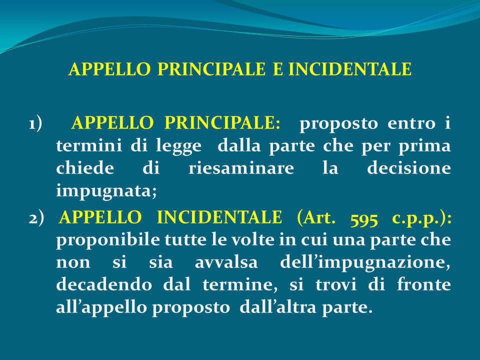 APPELLO PRINCIPALE E INCIDENTALE 1) APPELLO PRINCIPALE: proposto entro i termini di legge dalla parte che per prima chiede di riesaminare la decisione impugnata; 2) APPELLO INCIDENTALE (Art.