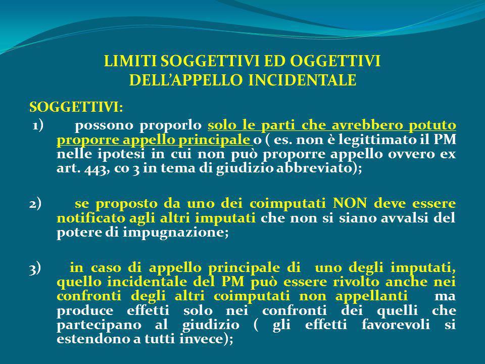 LIMITI SOGGETTIVI ED OGGETTIVI DELL'APPELLO INCIDENTALE