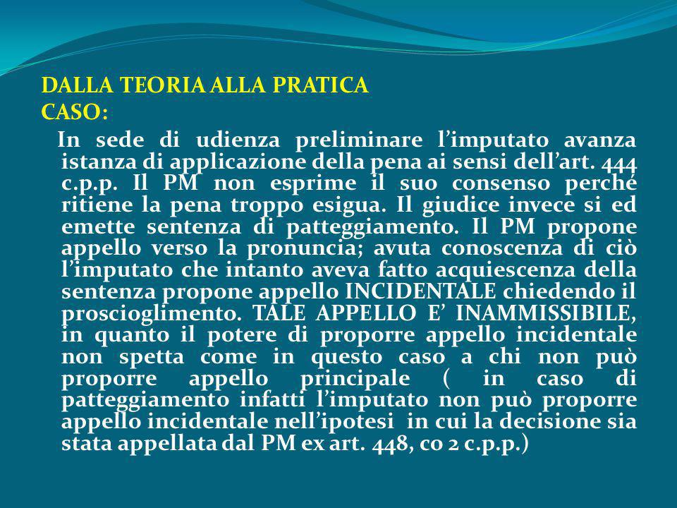 DALLA TEORIA ALLA PRATICA CASO: In sede di udienza preliminare l'imputato avanza istanza di applicazione della pena ai sensi dell'art.