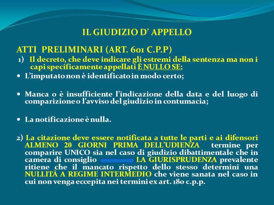 ATTI PRELIMINARI (ART. 601 C.P.P)