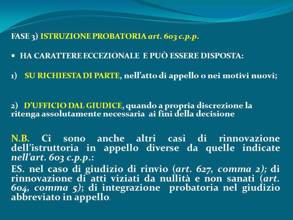 FASE 3) ISTRUZIONE PROBATORIA art. 603 c.p.p.