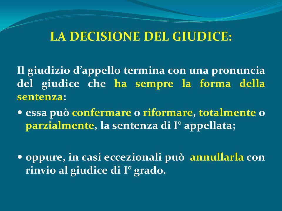 LA DECISIONE DEL GIUDICE: