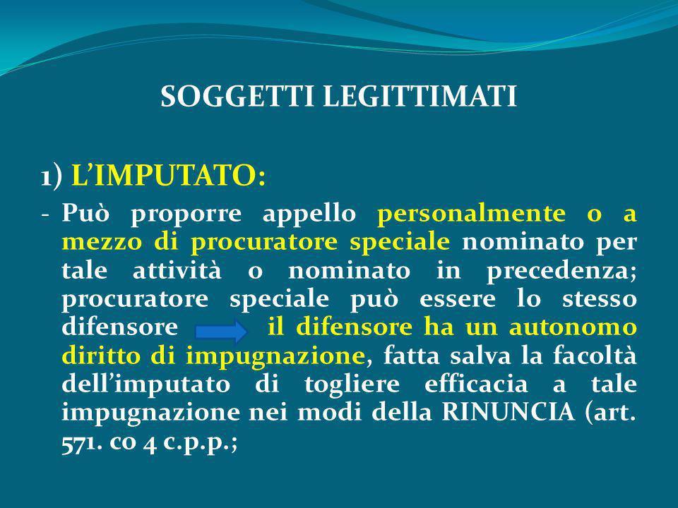 SOGGETTI LEGITTIMATI 1) L'IMPUTATO: