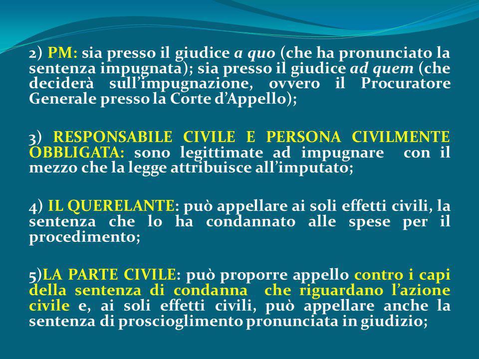 2) PM: sia presso il giudice a quo (che ha pronunciato la sentenza impugnata); sia presso il giudice ad quem (che deciderà sull'impugnazione, ovvero il Procuratore Generale presso la Corte d'Appello); 3) RESPONSABILE CIVILE E PERSONA CIVILMENTE OBBLIGATA: sono legittimate ad impugnare con il mezzo che la legge attribuisce all'imputato; 4) IL QUERELANTE: può appellare ai soli effetti civili, la sentenza che lo ha condannato alle spese per il procedimento; 5)LA PARTE CIVILE: può proporre appello contro i capi della sentenza di condanna che riguardano l'azione civile e, ai soli effetti civili, può appellare anche la sentenza di proscioglimento pronunciata in giudizio;