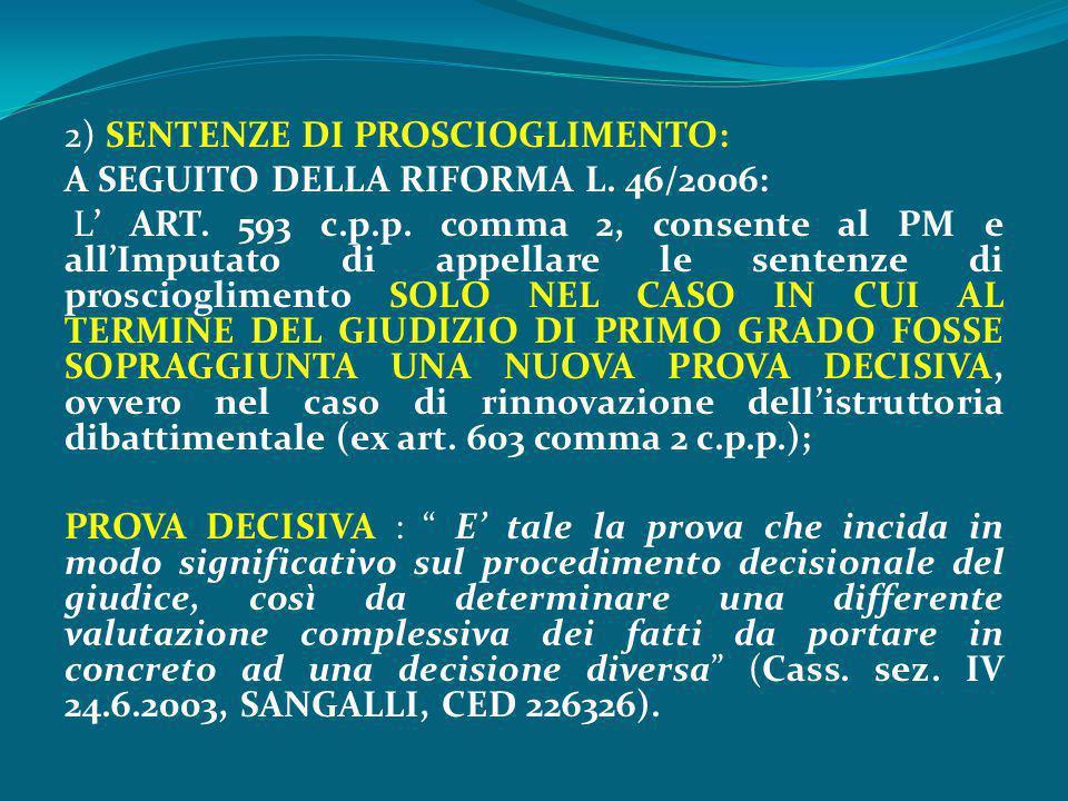 2) SENTENZE DI PROSCIOGLIMENTO: A SEGUITO DELLA RIFORMA L