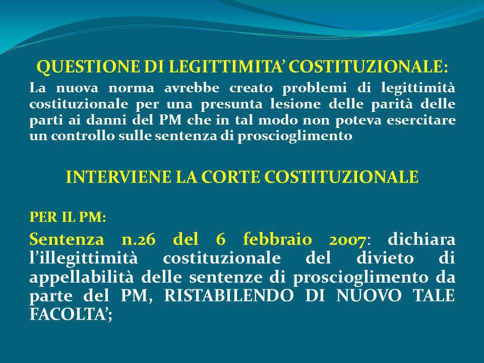 QUESTIONE DI LEGITTIMITA' COSTITUZIONALE: