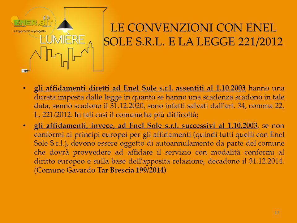 LE CONVENZIONI CON ENEL SOLE S.R.L. E LA LEGGE 221/2012