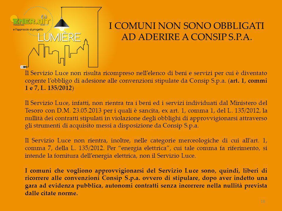I COMUNI NON SONO OBBLIGATI AD ADERIRE A CONSIP S.P.A.