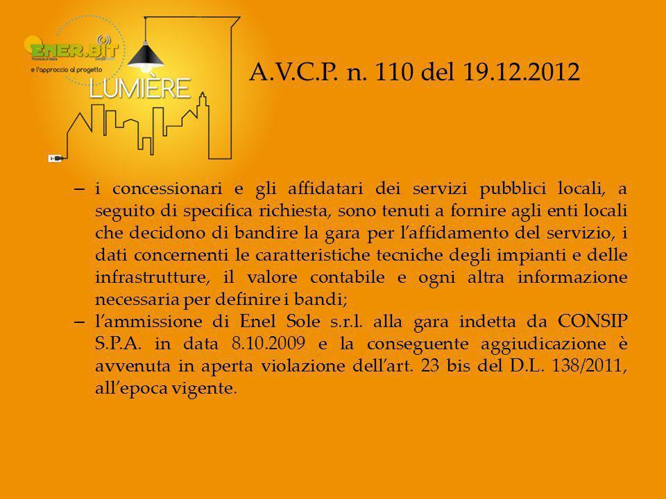 A.V.C.P. n. 110 del 19.12.2012