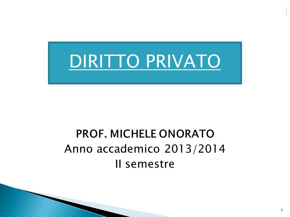 DIRITTO PRIVATO DIRITTO PRIVATO Anno accademico 2013/2014 II semestre