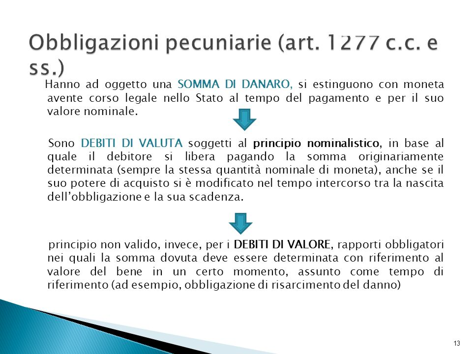 Obbligazioni pecuniarie (art. 1277 c.c. e ss.)