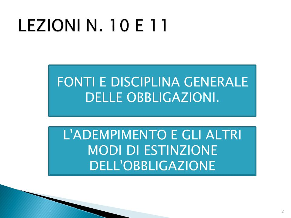 LEZIONI N. 10 E 11 FONTI E DISCIPLINA GENERALE DELLE OBBLIGAZIONI.