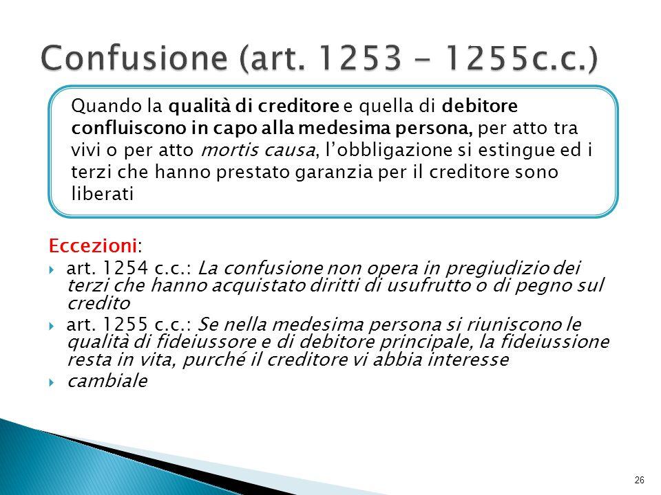 Confusione (art. 1253 - 1255c.c.) Eccezioni:
