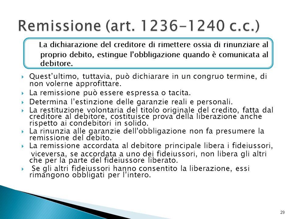 Remissione (art. 1236-1240 c.c.) Quest'ultimo, tuttavia, può dichiarare in un congruo termine, di non volerne approfittare.