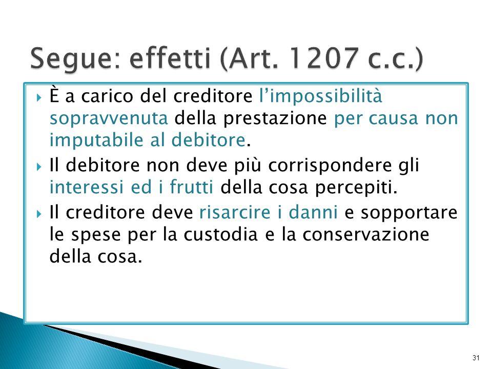 Segue: effetti (Art. 1207 c.c.)