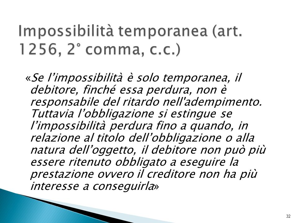 Impossibilità temporanea (art. 1256, 2° comma, c.c.)