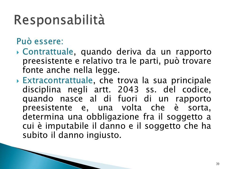 Responsabilità Può essere: