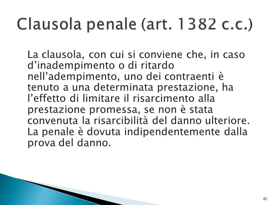 Clausola penale (art. 1382 c.c.)