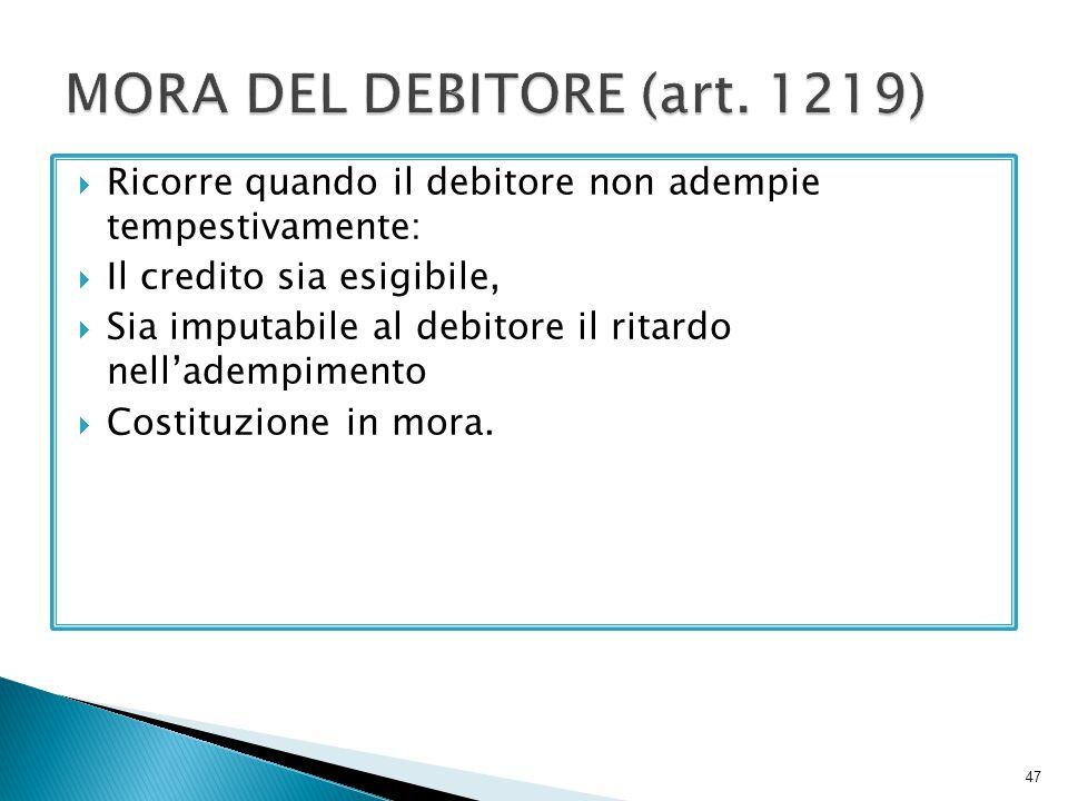 MORA DEL DEBITORE (art. 1219)