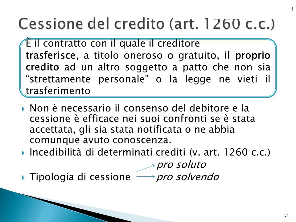 Cessione del credito (art. 1260 c.c.)