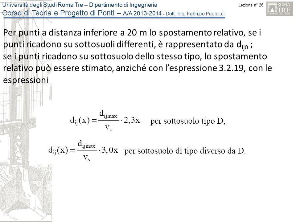 Per punti a distanza inferiore a 20 m lo spostamento relativo, se i punti ricadono su sottosuoli differenti, è rappresentato da dij0 ;