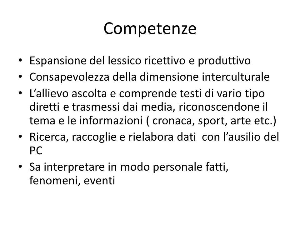 Competenze Espansione del lessico ricettivo e produttivo