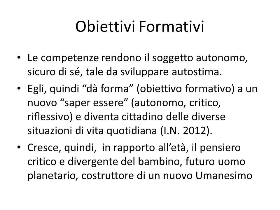 Obiettivi Formativi Le competenze rendono il soggetto autonomo, sicuro di sé, tale da sviluppare autostima.