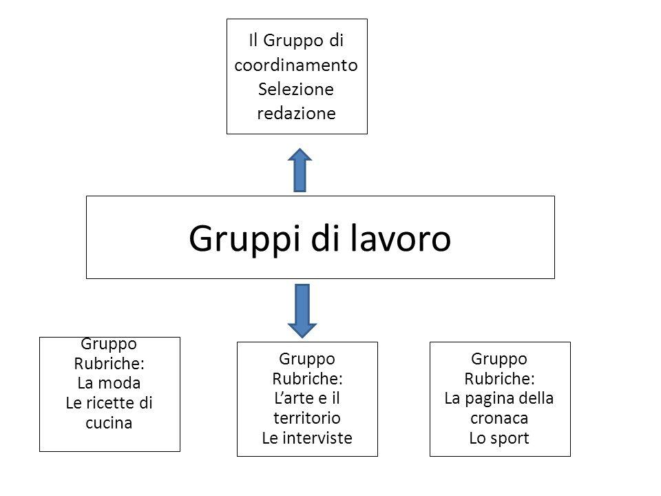 Gruppi di lavoro Il Gruppo di coordinamento Selezione redazione