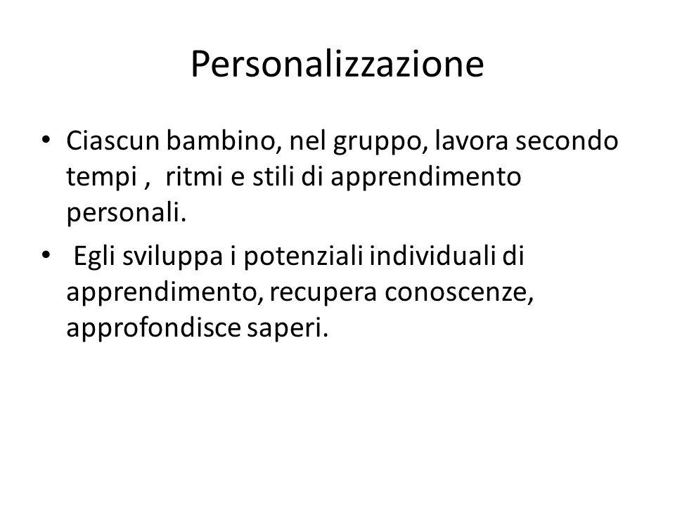 Personalizzazione Ciascun bambino, nel gruppo, lavora secondo tempi , ritmi e stili di apprendimento personali.