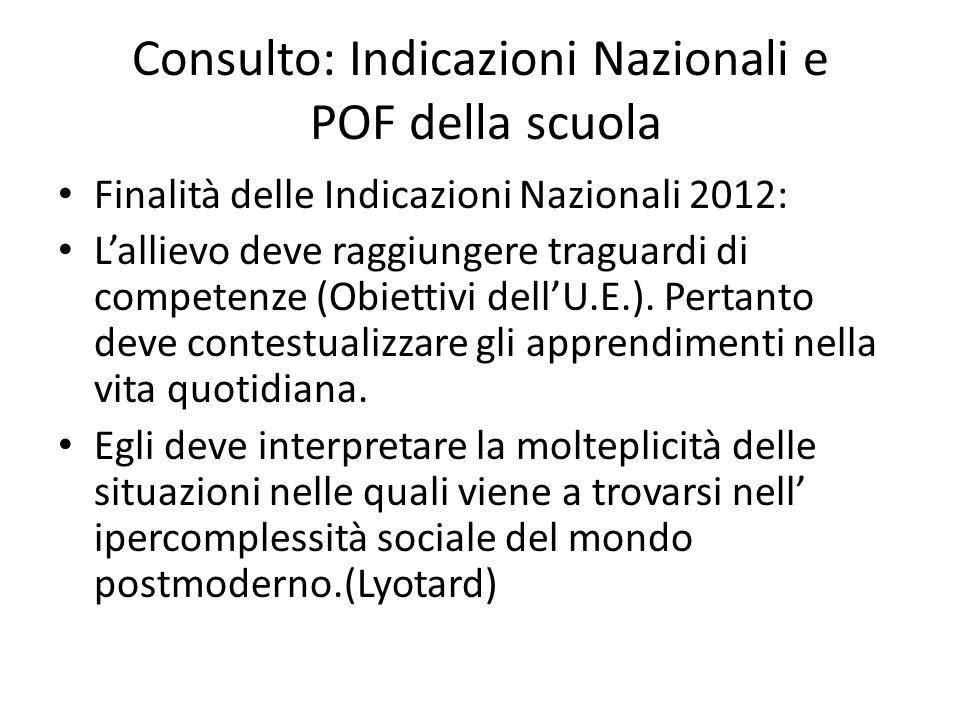 Consulto: Indicazioni Nazionali e POF della scuola