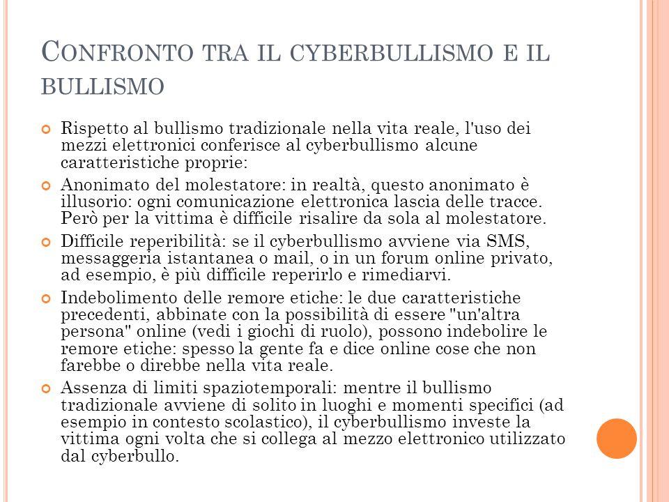 Confronto tra il cyberbullismo e il bullismo