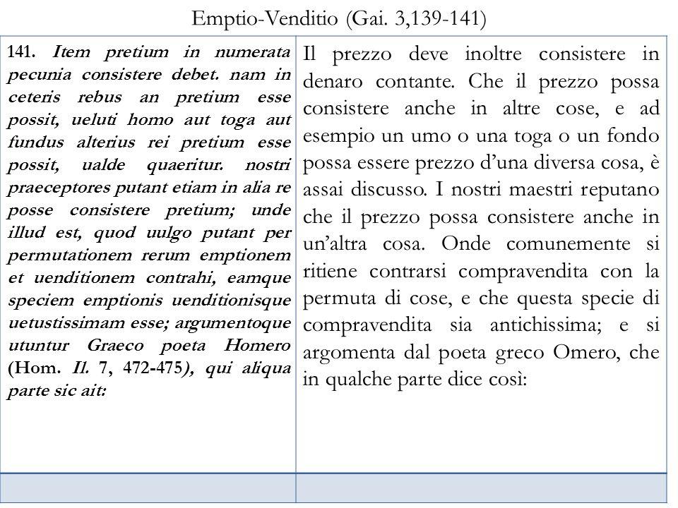 Emptio-Venditio (Gai. 3,139-141)