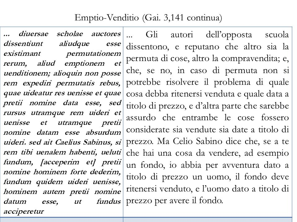 Emptio-Venditio (Gai. 3,141 continua)