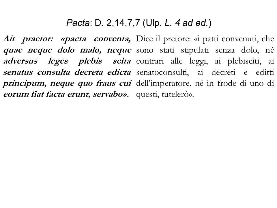 Pacta: D. 2,14,7,7 (Ulp. L. 4 ad ed.)