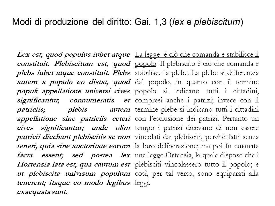 Modi di produzione del diritto: Gai. 1,3 (lex e plebiscitum)