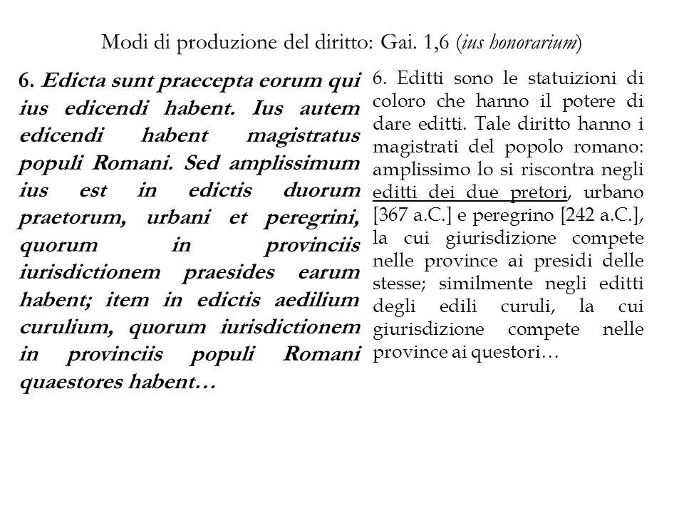 Modi di produzione del diritto: Gai. 1,6 (ius honorarium)