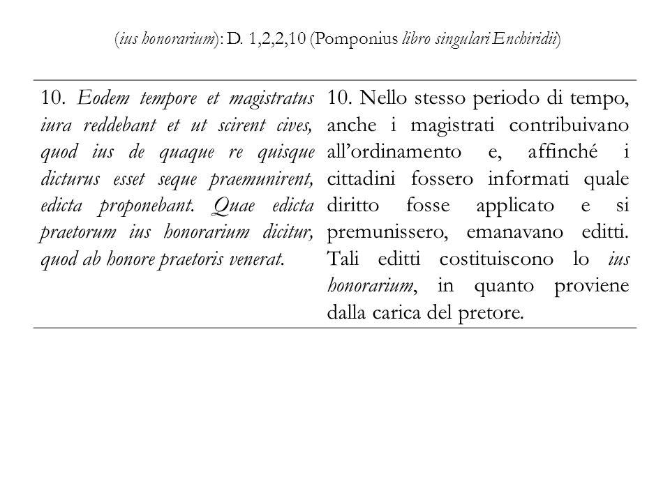 (ius honorarium): D. 1,2,2,10 (Pomponius libro singulari Enchiridii)