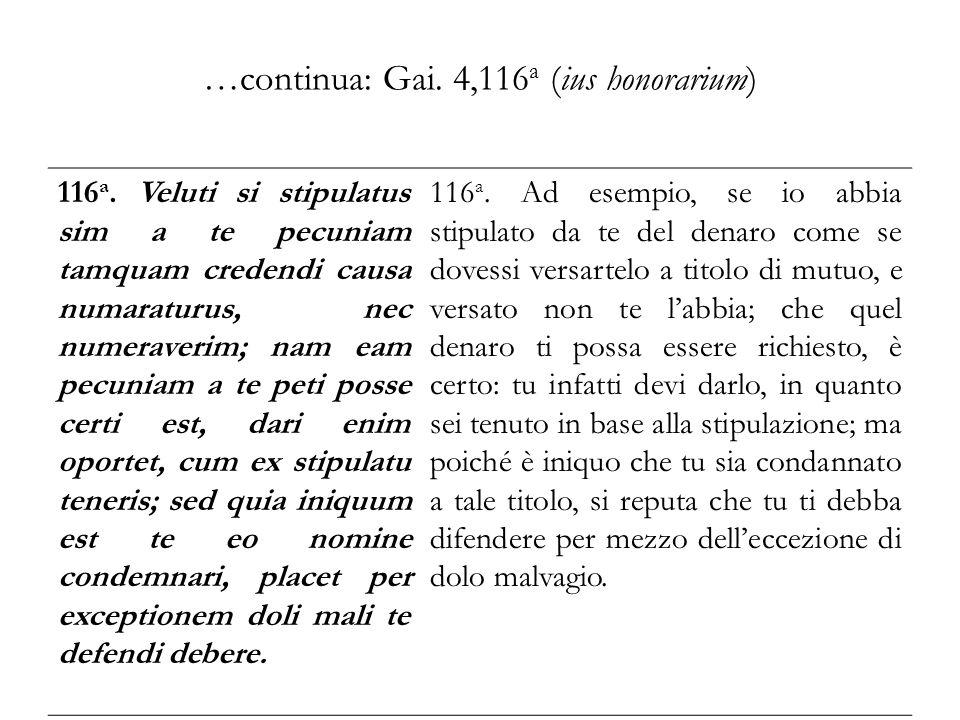…continua: Gai. 4,116a (ius honorarium)